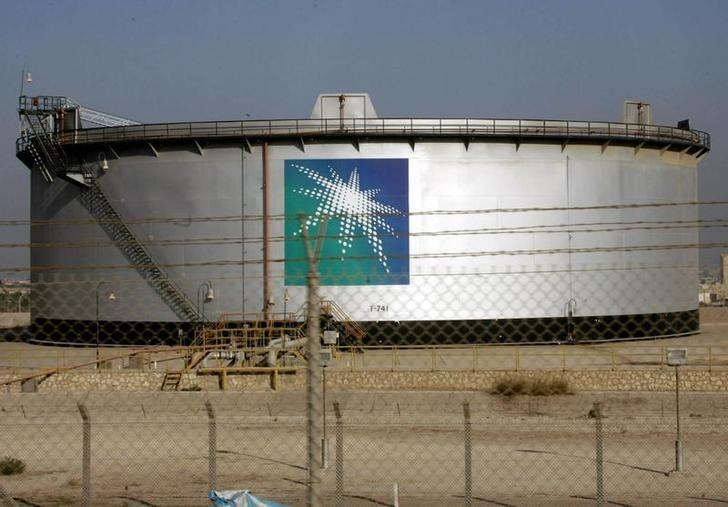An oil tank is seen at the Saudi Aramco headquarters during a media tour at Damam city