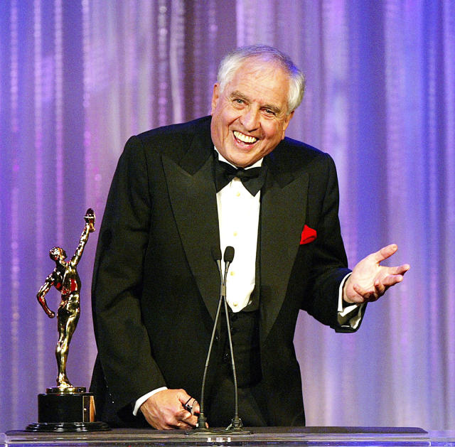 <p>Garry Marshall created Happy Days and its spin off series, including Laverne and Shirley and Mork and Mindy. He later became known for his film work, including as the director of Pretty Woman. He died at 81 on July 19. — (Pictured) Actor/director Garry Marshall receives the Filmaker of the Year award at the American Cinema Editors' 54th Annual ACE Eddie Awards at the Beverly Hilton Hotel in 2004 in Beverly Hills, California. (Kevin Winter/Getty Images) </p>