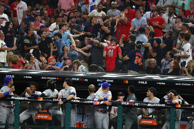 Netting that protects fans with infield seats in Cleveland does not expand beyond the dugouts. (Getty)