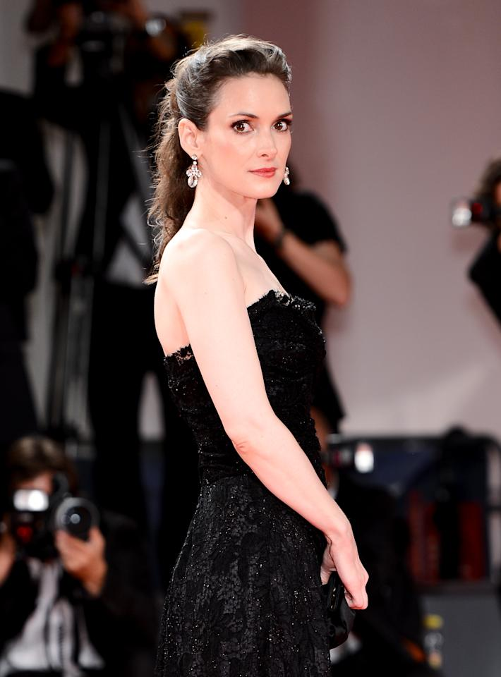 "VENICE, ITALY - AUGUST 30:  Actress Winona Ryder attends ""The Iceman"" premiere during the 69th Venice Film Festival at the Palazzo del Cinema on August 30, 2012 in Venice, Italy.  (Photo by Ian Gavan/Getty Images)"