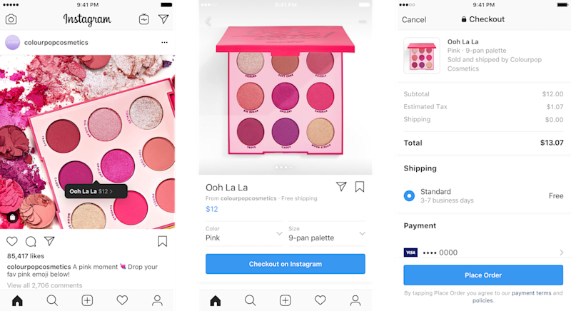 Screenshots of the Checkout process on Instagram for someone buying makeup.
