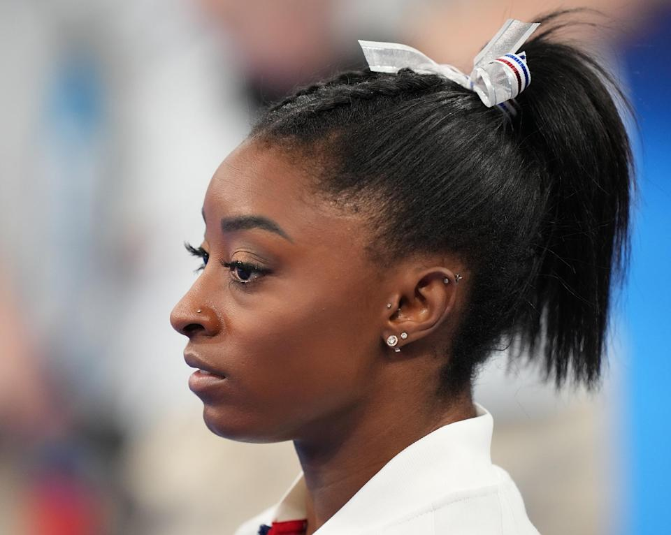 Simone Biles of Team US reacts during the Women's Team Final