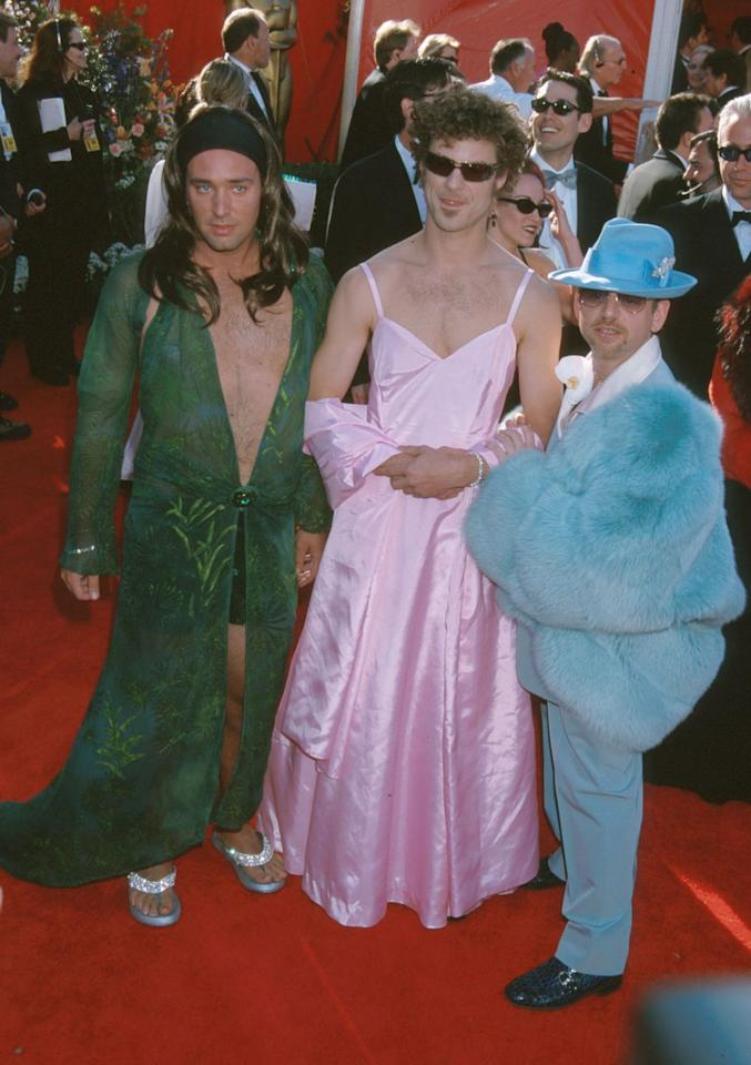 "<p><em>South Parker</em> creators Trey Parker, Matt Stone, and Marc Shaiman showed up to the 2000 Oscars red carpet in...<a rel=""nofollow"" href=""http://www.nydailynews.com/life-style/worst-academy-awards-dresses-time-gallery-1.1704124?pmSlide=1.1704113"">women's clothing</a>, awkwardly mimicking Jennifer Lopez and Gwyneth Paltrow. They later <a rel=""nofollow"" href=""https://www.washingtonpost.com/blogs/celebritology/post/matt-stone-and-trey-parker-were-on-drugs-when-they-wore-dresses-to-the-oscars-video/2011/09/30/gIQA2h4iAL_blog.html?utm_term=.2210b56a0e82"">admitted they were on acid</a> at the time. </p>"