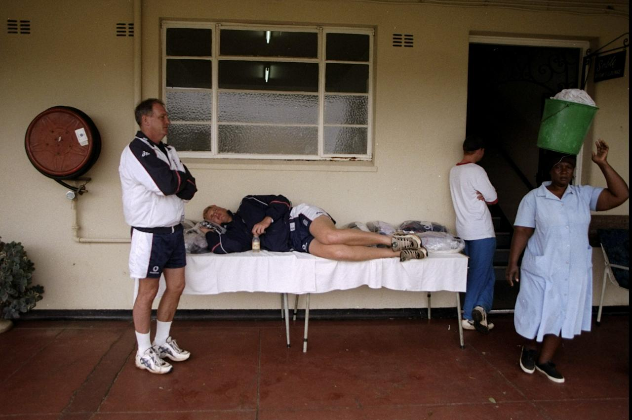 Feb 1999:  Andrew Flintoff of the England A squad rests during the England A tour of Zimbabwe in Harare, Zimbabwe. \ Mandatory Credit: Laurence Griffiths /Allsport