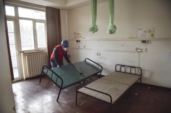 The Xiaotangshan Hospital in Beijing, which was used to quarantine patients during the SARS epidemic, is being renovated for possible use during China's current virus outbreak. (Peng Ziyang/Xinhua via AP)