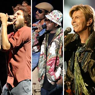 Rage Against the Machine, OutKast, David Bowie (Photos by Tim Mosenfelder/Getty Images; Peter Kramer/Getty Images; Dave Hogan/Getty Images)