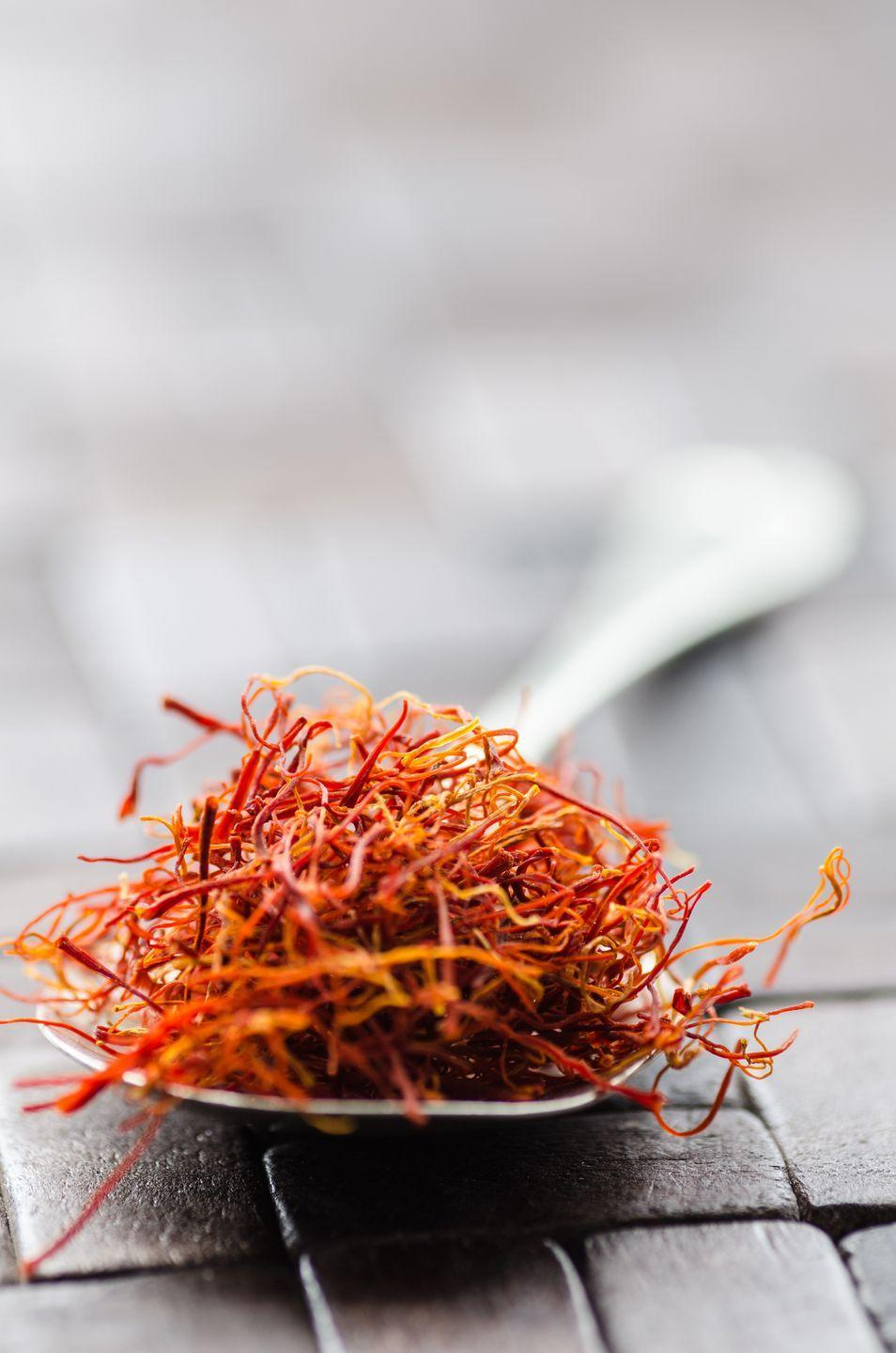"""<p>""""Studies show that the equivalent of 15 milligrams—or about one-fifth of a teaspoon of threads—of saffron twice daily can decrease <strong>PMS symptoms, including anxiety, irritability, depression, mood swings, and insomni</strong>a. Add saffron to your food, take it in capsule form, or brew a cup of tea."""" (People with bipolar disorder shouldn't use saffron without a doctor's supervision.) </p><p><em>—Skye McKennon, PharmD, clinical assistant professor, University of Washington and Washington State University</em></p>"""