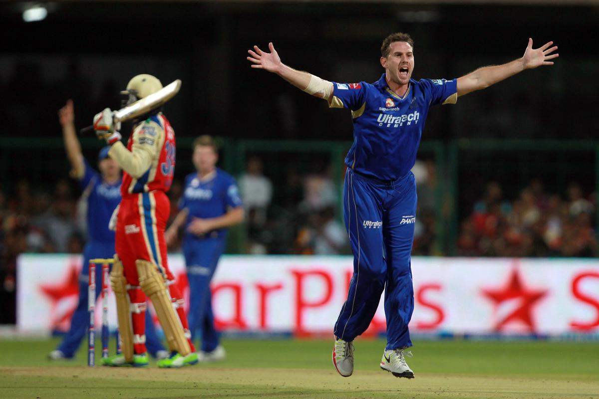 Shaun Tait goes up for an appeal for caught-behind during match 27 of the Pepsi Indian Premier League between The Royal Challengers Bangalore and The Rajasthan Royals held at the M. Chinnaswamy Stadium, Bengaluru  on the 20th April 2013. Photo by Jacques Rossouw/IPL/SPORTZPICS   ..Use of this image is subject to the terms and conditions as outlined by the BCCI. These terms can be found by following this link:..https://ec.yimg.com/ec?url=http%3a%2f%2fwww.sportzpics.co.za%2fimage%2fI0000SoRagM2cIEc&t=1492977088&sig=2nwlFntFT59TuNmtAHtgzA--~C
