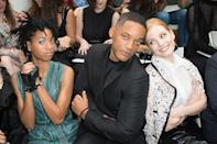 <p>The fun loving duo also posed alongside Jessica Chastain on the FROW. <i>[Photo:</i><i>Stephane Cardinale - Corbis/Corbis via Getty Images]</i></p>