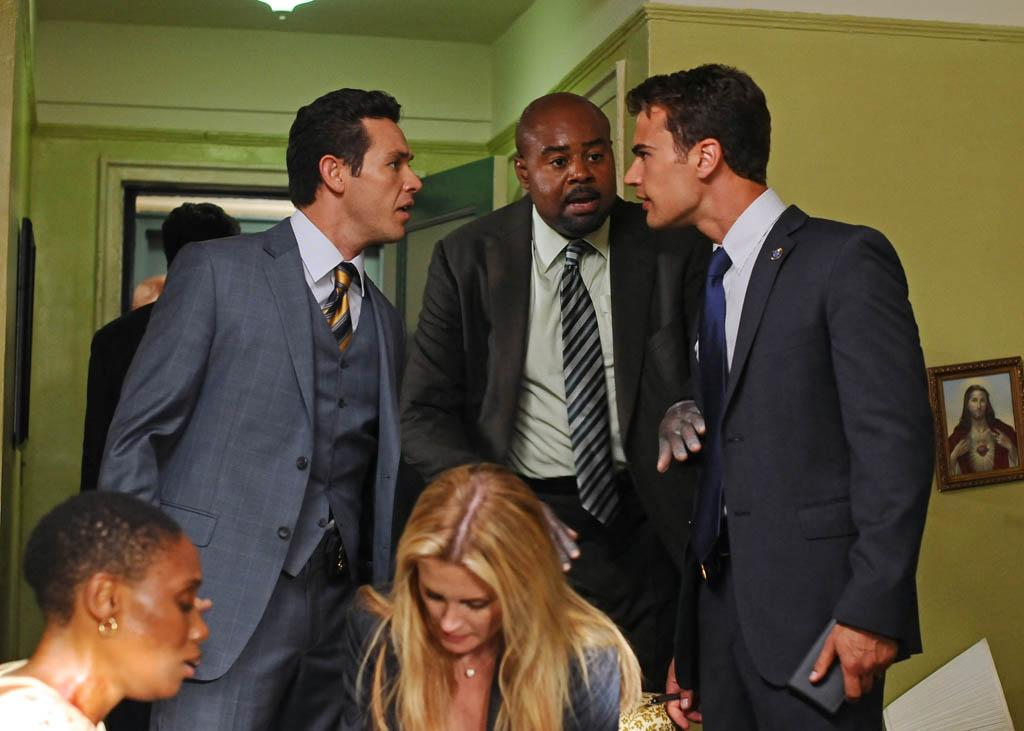 """Young Guns"" -- (L-R) Arroyo (Kevin Alejandro), Owen (Chi McBride), Clark (Theo James) and Mackenzie (Bonnie Somerville) work a case together on ""Golden Boy."""