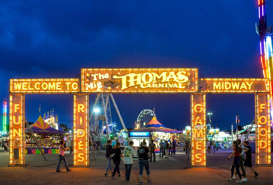 The Mighty Thomas Carnival midway at the 88th Montana State Fair, held July 26-Aug. 3, 2019.