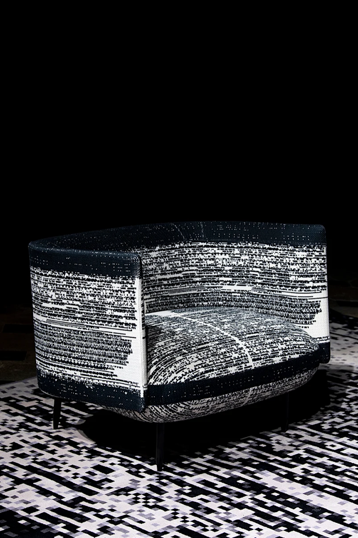 Super sparkly, super comfortable chair featured in Miguel Chevalier and A+A Cooren Studio's collaborative