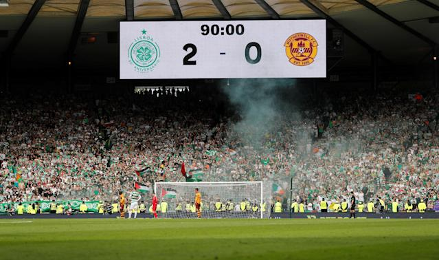 Soccer Football - Scottish Cup Final - Celtic vs Motherwell - Hampden Park, Glasgow, Britain - May 19, 2018 General view of the scoreboard above Celtic fans during the match REUTERS/Russell Cheyne