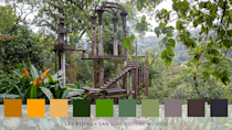 <p>'Pairing the surreal structures with the natural surroundings of Las Pozas results in a palette made up of deep jungle greens, with a smattering of earthy coloured tones and dark beigy yellows,' add Roofing Megastore. </p>