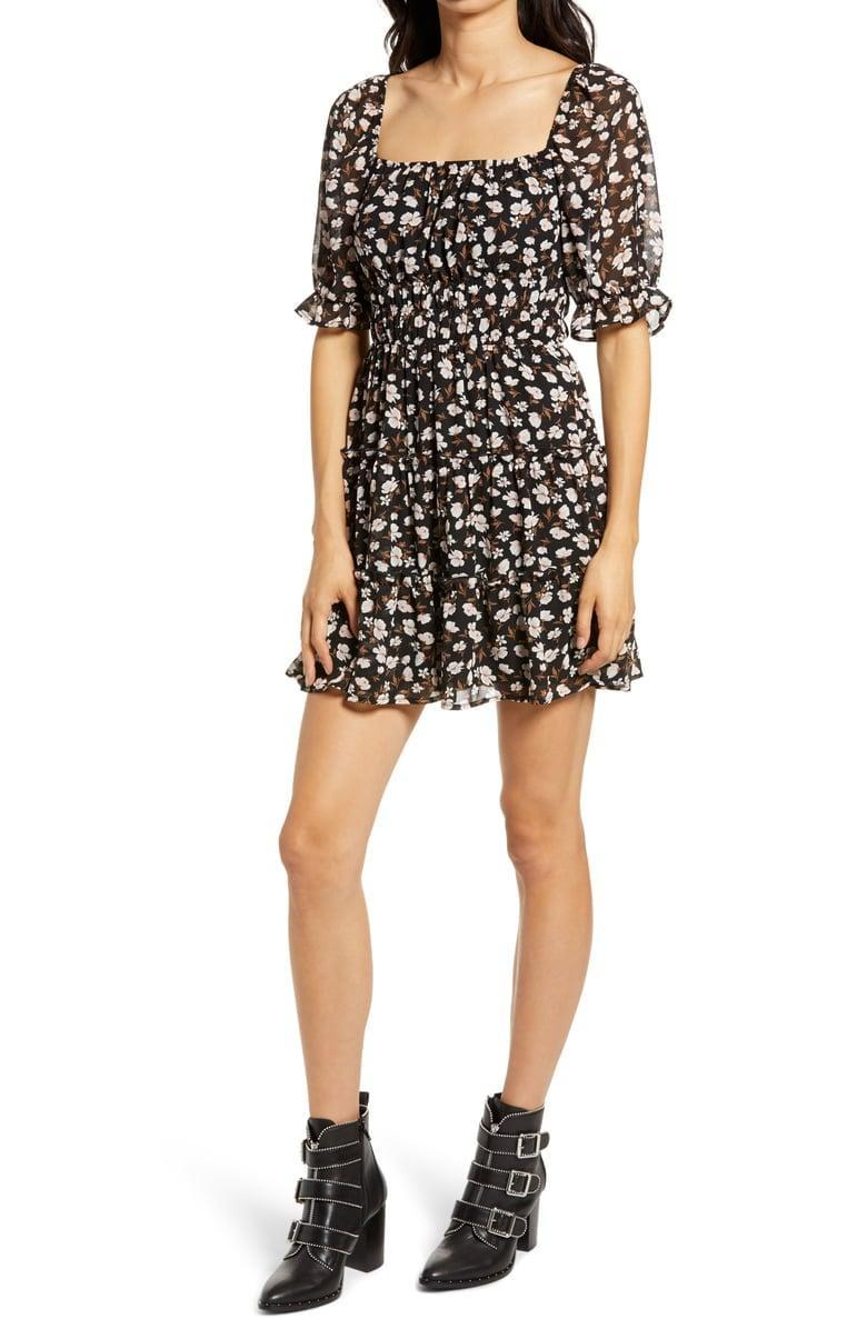 <p>This <span>Row A Ruched Waist Tiered Minidress</span> ($45) looks great with booties and a leather jacket.</p>