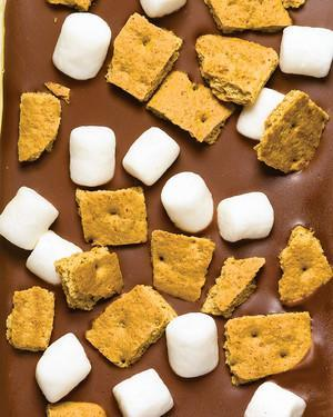 "<p>Think of this as an inside-out s'mores bar. Top homemade chocolate bark with coarsely chopped graham crackers and mini marshmallows, then refrigerate until firm. <a href=""https://www.marthastewart.com/1132318/smores-bark"" rel=""nofollow noopener"" target=""_blank"" data-ylk=""slk:View recipe"" class=""link rapid-noclick-resp""> View recipe </a></p>"