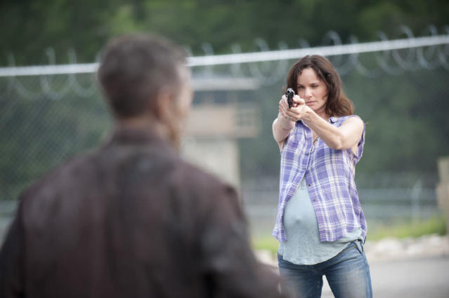 "Lori Grimes (Sarah Wayne Callies) and a walker in ""The Walking Dead"" episode, ""Killer Within."""