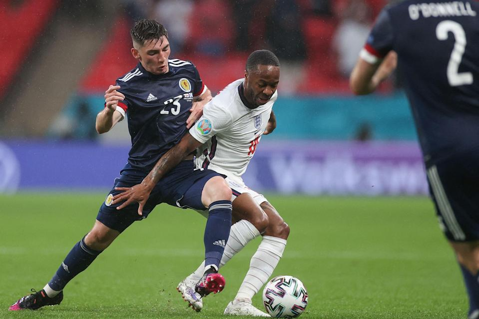 Billy Gilmour fights for the ball with Raheem Sterling (Getty)