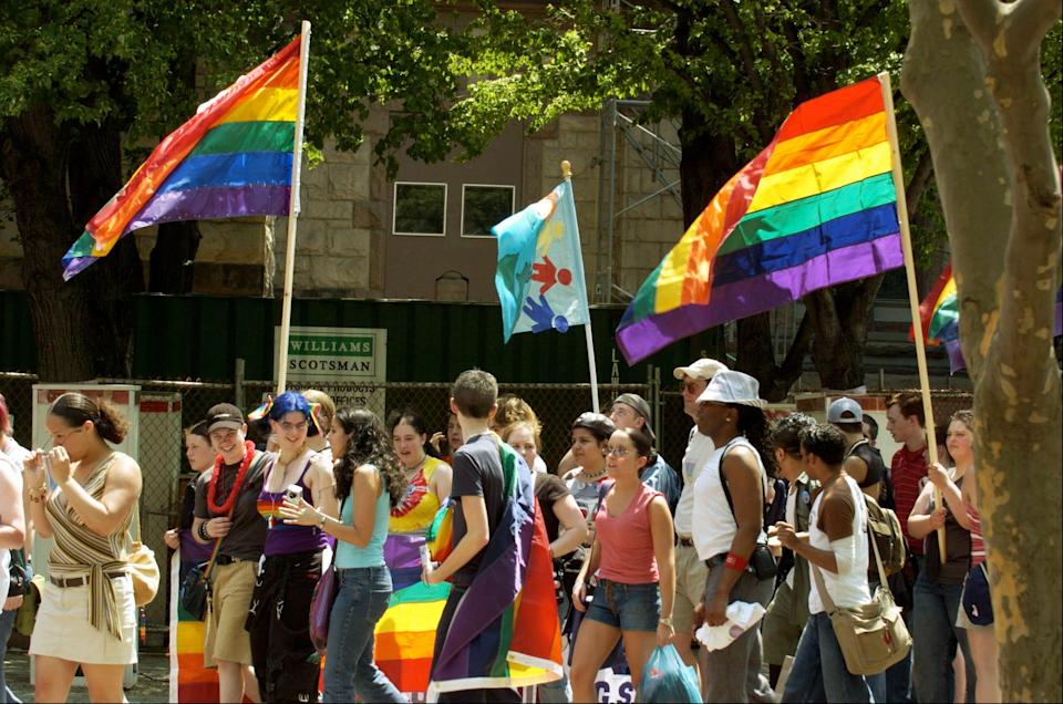 Students gather for the 10th annual Gay Youth Pride Day parade sponsored by The Governor's Commission on Gay and Lesbian Youth at Copley Square in Boston.