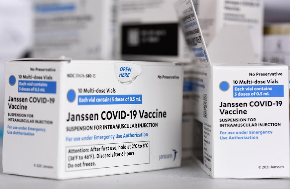 ORLANDO, FLORIDA, UNITED STATES - 2021/04/10: Johnson & Johnson COVID-19 vaccine boxes are seen at a vaccination site. Doses of the Johnson & Johnson vaccine are being administered throughout the state of Florida despite a small number of patients who have experienced adverse reactions, including blood clots. (Photo by Paul Hennessy/SOPA Images/LightRocket via Getty Images)