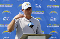 Los Angeles Chargers head coach Brandon Staley talks to the media after practice at the NFL football team's training camp in Costa Mesa, Calif., Wednesday, July 28, 2021. (AP Photo/Alex Gallardo)