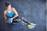 <p>The Russian twist is a core exercise that improves oblique strength and definition, explains DiVecchio. The move, typically performed with a medicine ball or plate, involves rotating your torso from side to side while holding a sit-up position with your feet off the ground.</p><p><strong>How to do Russian twists: </strong>Sit up tall on the floor with your knees bent and feet off the ground. Hold a medicine ball with your hands at chest height. Lean backward with a long, tall spine, holding your torso at a 45-degree angle and keeping your arms a few inches away from your chest. From here, turn your torso to the right, pause and squeeze your right oblique muscles, then turn your torso to the left and pause to squeeze your left oblique muscles. The movement should come from your ribs and not your arms. </p>