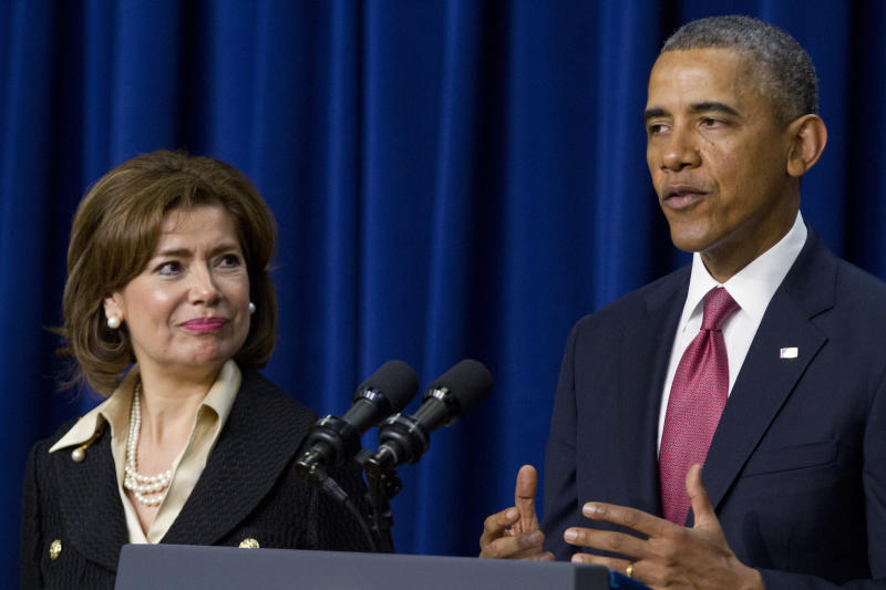 Maria Contreras-Sweet served as the head of the Small Business Administration (SBA) under President Barack Obama after serving as board chairman of a Latino-owned community bank in Los Angeles. (AP Photo/Jacquelyn Martin)