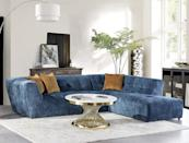 <p>Upgrade your living room overnight with this stunning, textured <span>Acanva Mid-Century Velvet Sectional Sofa</span> ($1,373). It's the perfect place to unwind after a long work day, but it's not your average sofa thanks to the stylish appearance, comfy seat cushions, and reliable hardwood frame.</p>