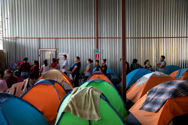 Tents at the Juventud 2000 shelter in Tijuana, Mexico, a stone's throw from the US border, where Central American migrants wait to see if the US will take them in