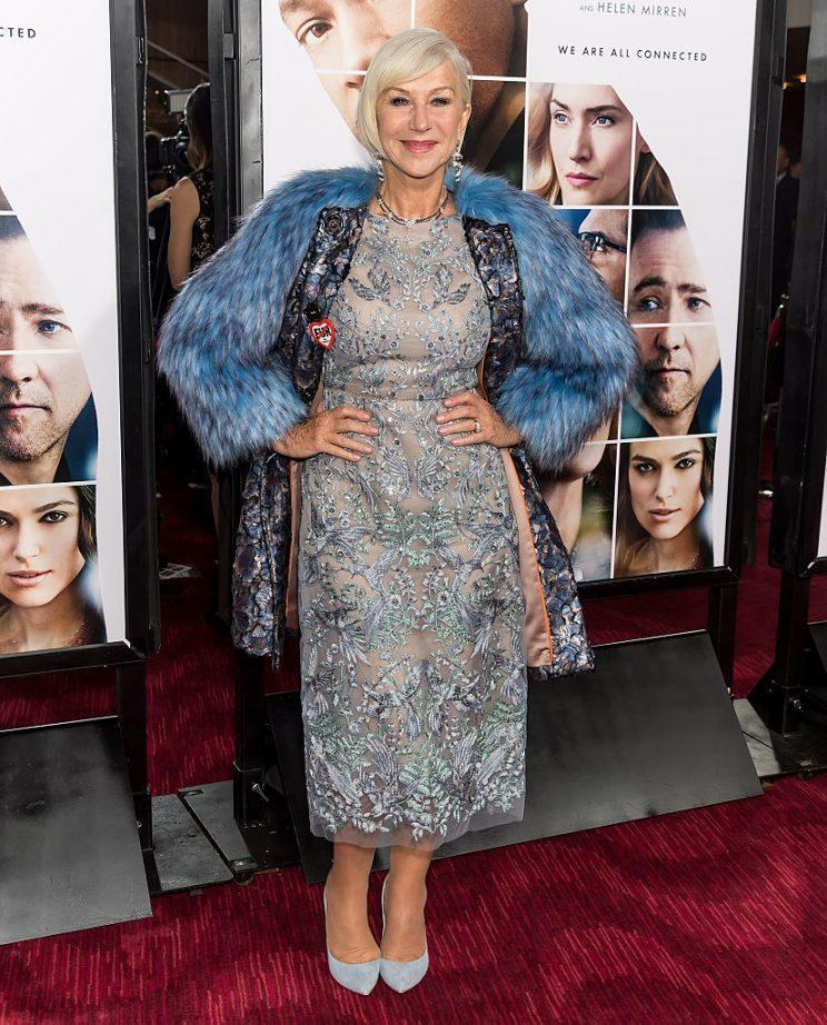 Helen Mirren at the Collateral Beauty premiere in New York wearing Marchesa. (Photo: Gilbert Carrasquillo/FilmMagic )