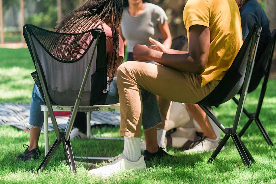CLIQ's bottle-sized portable camping chairs make great spur-of-the-moment seating on the go.