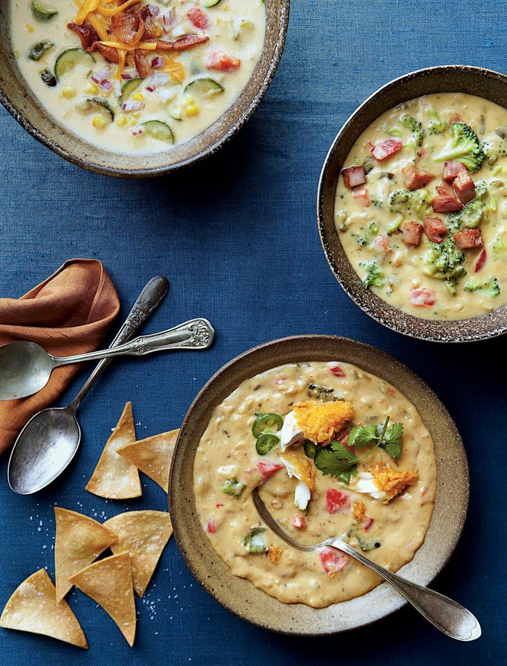 """<p><strong>Recipe:</strong> <a rel=""""nofollow"""" href=""""http://www.myrecipes.com/recipe/queso-potato-chowder-50400000116211/""""><strong>Queso Potato Chowder</strong></a></p><p>This rich and filling chowder is perfect for pulling out of the freezer on cold nights. Poblano peppers add just enough heat, and hash brown potatoes and plenty of cheese give this chowder its characteristic richness.</p><p><a rel=""""nofollow"""" href=""""http://www.southernliving.com/food/how-to/how-to-freeze-and-store-soup-00417000075414""""><strong>How To Freeze and Store Soup</strong></a></p>"""