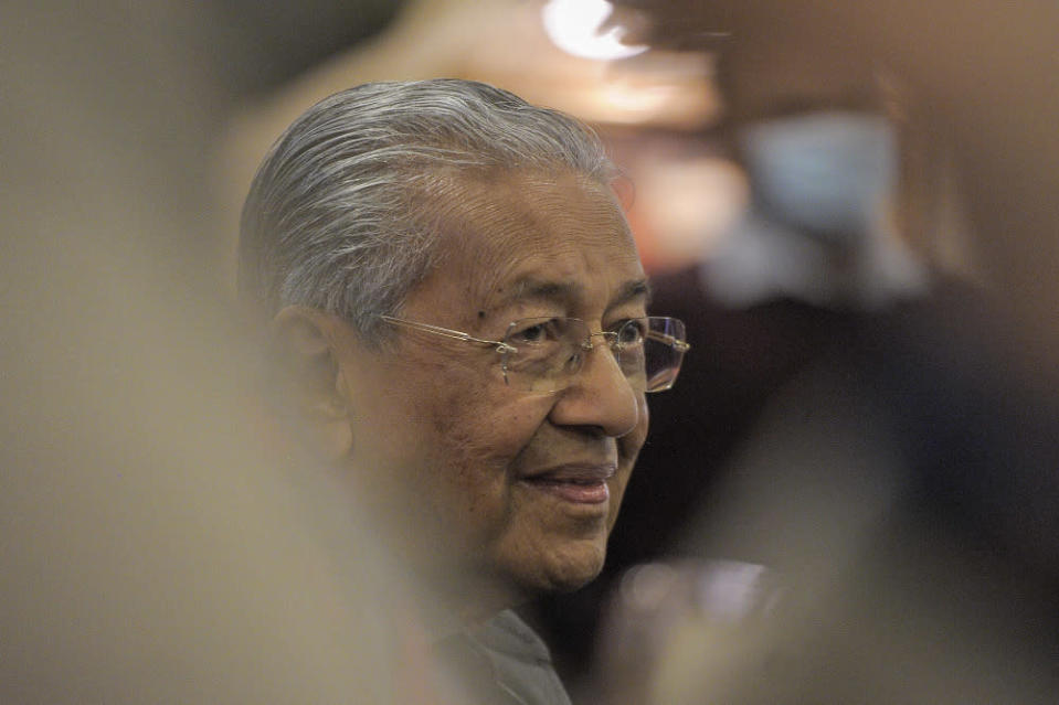 Pejuang chairman Tun Mahathir Mohamad speaks to the media during a press conference at Perdana Leadership Foundation in Putrajaya January 7, 2021. — Picture by Shafwan Zaidon