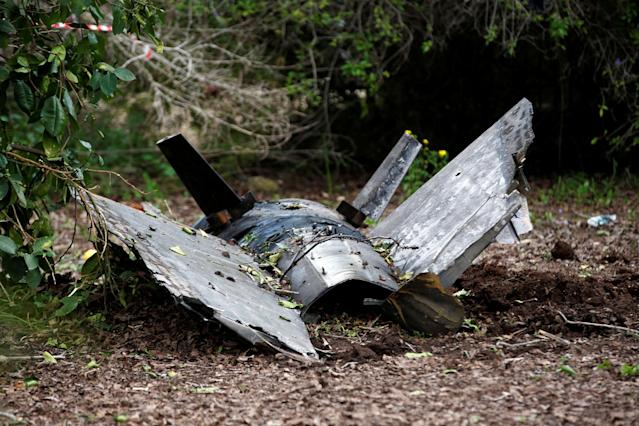 <p>Fragments of a Syrian anti-aircraft missile found in Alonei Abba, about 2 miles (3.2 km) from where the remains of a crashed F-16 Israeli war plane were found, at the village of Alonei Abba, Israel, Feb. 10, 2018. (Photo: Ronen Zvulun/Reuters) </p>
