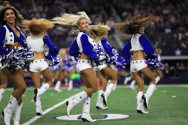 <p>The Dallas Cowboys cheerleaders perform at AT&T Stadium on November 30, 2017 in Arlington, Texas. (Photo by Ronald Martinez/Getty Images) </p>