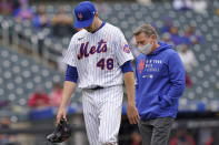 New York Mets starting pitcher Jacob deGrom (48) leaves the field during the sixth inning of a baseball game against the Arizona Diamondbacks, Sunday, May 9, 2021, in New York. (AP Photo/Kathy Willens)