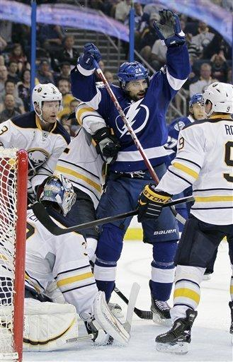 Tampa Bay Lightning left wing Trevor Smith (24) celebrates after scoring a goal against the Buffalo Sabres during the second period of an NHL hockey game, Monday, March 19, 2012, in Tampa, Fla. (AP Photo/Chris O'Meara)