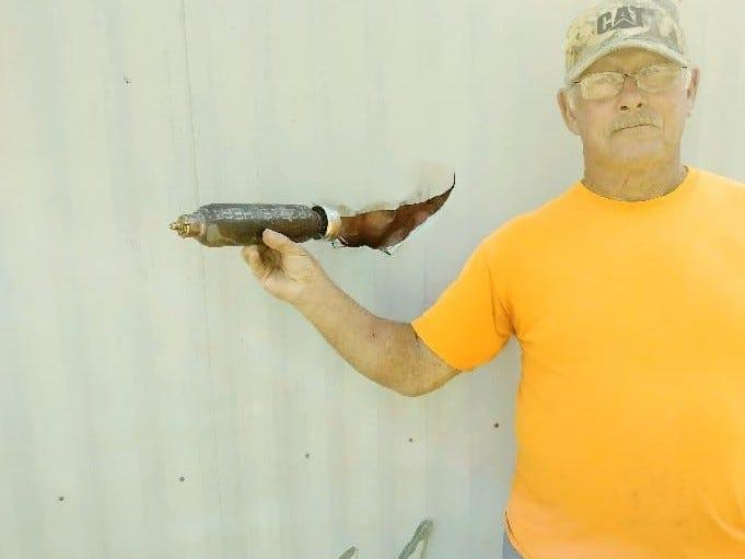 The Federal Aviation Administration is investigating a mysterious object that may have fallen from a plane and hit Tommy Woosley's mobile home in Burgin, Mercer County, Kentucky, Sunday, Oct. 13, 2019.