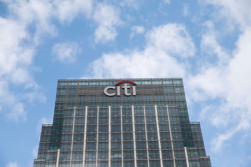 FILE PHOTO: A Citigroup office is seen at Canary Wharf  in London