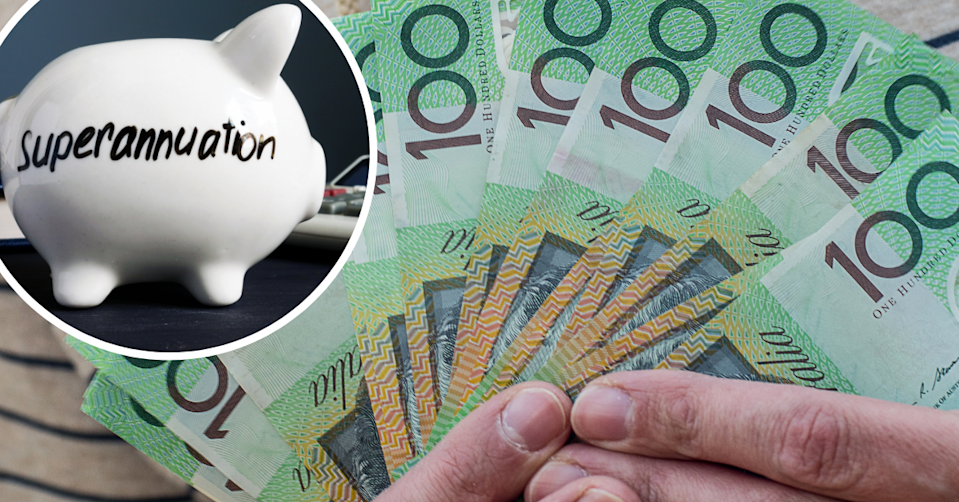 Piggy bank with the world 'superannuation' on the side and hands holding $100 notes.