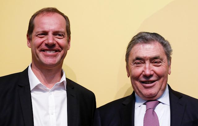 Tour de France director Christian Prudhomme and former Belgian cycling champion Eddy Merckx pose during the presentation of the Grand Depart of the 2019 Tour de France cycling race in Brussels, Belgium, January 16, 2018. REUTERS/Francois Lenoir