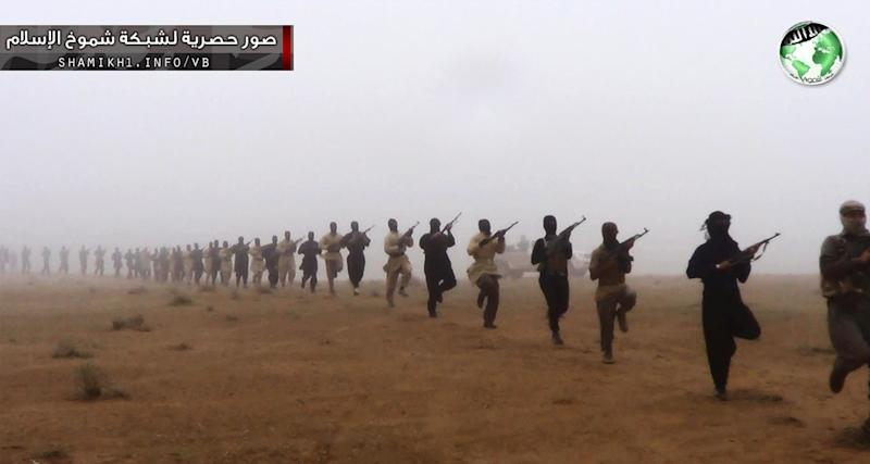 This undated image posted on a militant website purports to show militants in the al-Jazeera region on the Iraqi side of the Syria-Iraq border. Last month, militants inside Iraq killed 48 Syrian government troops who had sought refuge from the war in their country _ an ambush that regional officials now say is evidence of a growing cross-border alliance between two powerful Sunni jihadi groups _ Al-Qaida in Iraq and the Nusra Front in Syria. Middle Eastern intelligence officials said the jihadi groups are sharing military training compounds, logistics, intelligence and weapons as they grow in strength around the Syria-Iraq border, particularly in a sprawling region called al-Jazeera, which they are trying to turn into a border sanctuary they can both exploit.(AP Photo)
