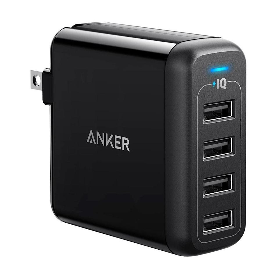 """<p><strong>Anker</strong></p><p>amazon.com</p><p><strong>$27.99</strong></p><p><a href=""""https://www.amazon.com/dp/B00VH8ENXE?tag=syn-yahoo-20&ascsubtag=%5Bartid%7C2089.g.1219%5Bsrc%7Cyahoo-us"""" rel=""""nofollow noopener"""" target=""""_blank"""" data-ylk=""""slk:Shop Now"""" class=""""link rapid-noclick-resp"""">Shop Now</a></p><p>If you don't need the fastest charging speeds possible and tend to charge your devices before bed, we recommend this 40-watt charger from Anker. <br></p><p>Its four ports each charge up to 2.4 amps, so you can recharge your smartphone, tablet, wireless earbuds, and smartwatch simultaneously at full speed in less time than you could with their included chargers. </p><p>The biggest difference between this wall charger and the Anker PowerPort Speed 4 is that this one doesn't support Qualcomm Quick Charging. Regardless, it's still an incredibly versatile and powerful pick — it's just a tad bit slower and is typically a little cheaper. </p>"""