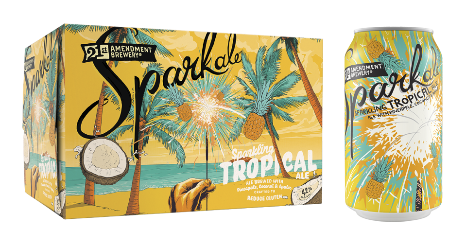 "<p>This fizzy ale from <a href=""https://www.21st-amendment.com/beers/sparkale-tropical"" rel=""nofollow noopener"" target=""_blank"" data-ylk=""slk:21st Amendment Brewery"" class=""link rapid-noclick-resp"">21st Amendment Brewery</a> finds a way to fit pineapple, coconut, and apple flavors into one delicious beer. Sweet and tart swirl together for a <a href=""https://www.cosmopolitan.com/style-beauty/a20716204/hawaiian-tropic-sunscreen-video/"" rel=""nofollow noopener"" target=""_blank"" data-ylk=""slk:tropical"" class=""link rapid-noclick-resp"">tropical</a> getaway from boring brews/real life.</p>"