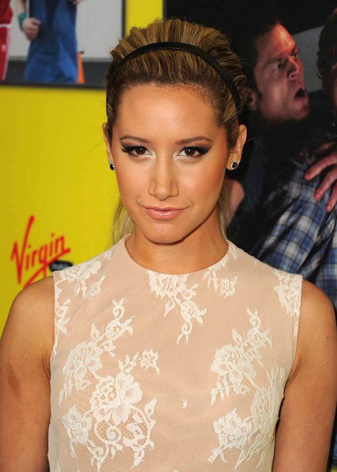 """HOLLYWOOD, CA - JANUARY 23:  Actress Ashley Tisdale attends the premiere of Relativity Media's """"Movie 43"""" at TCL Chinese Theatre on January 23, 2013 in Hollywood, California.  (Photo by Kevin Winter/Getty Images)"""