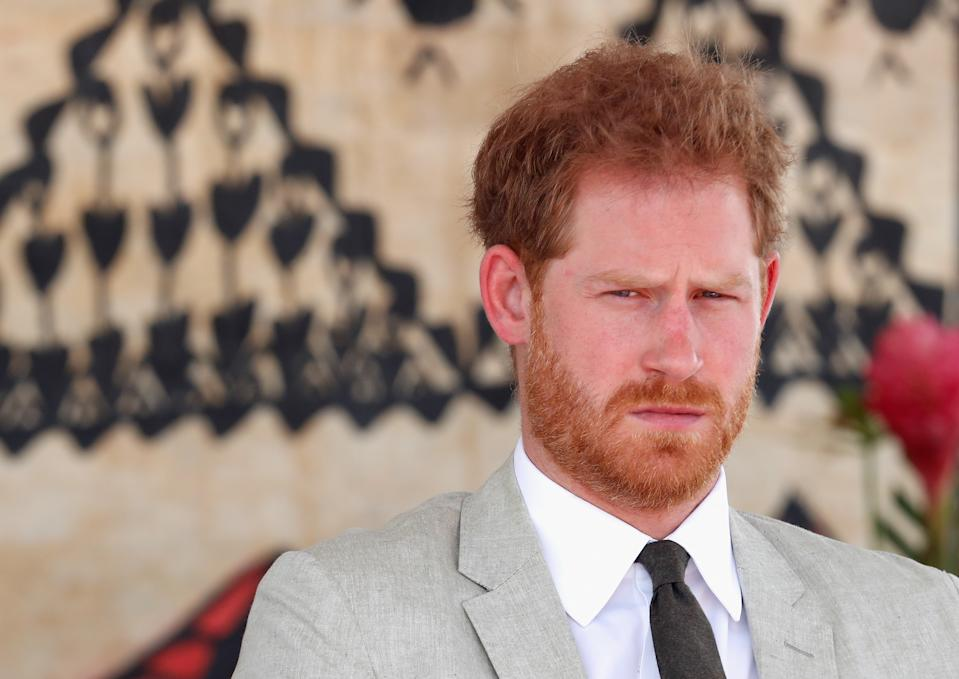 NADI, FIJI - OCTOBER 25:  Prince Harry, Duke of Cambridge attend the unveiling of the Labalaba Statue on October 25, 2018 in Nadi, Fiji. The Duke and Duchess of Sussex are on their official 16-day Autumn tour visiting cities in Australia, Fiji, Tonga and New Zealand  (Photo by Chris Jackson-Pool/Getty Images)