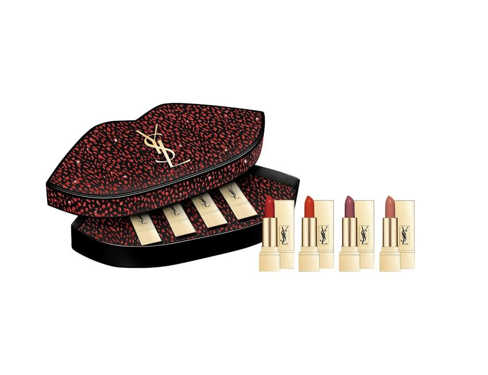 <p>The packaging is just as much fun as the products inside this <span>Yves Saint Laurent Mini Rouge Pur Couture Lipstick Set</span> ($50).</p>