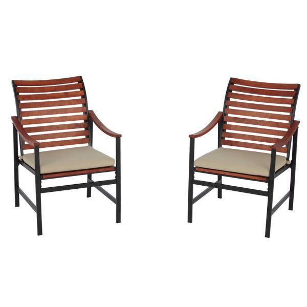 Hampton Bay Wood Outdoor Dining Chair with Cushion (Pack of 2)