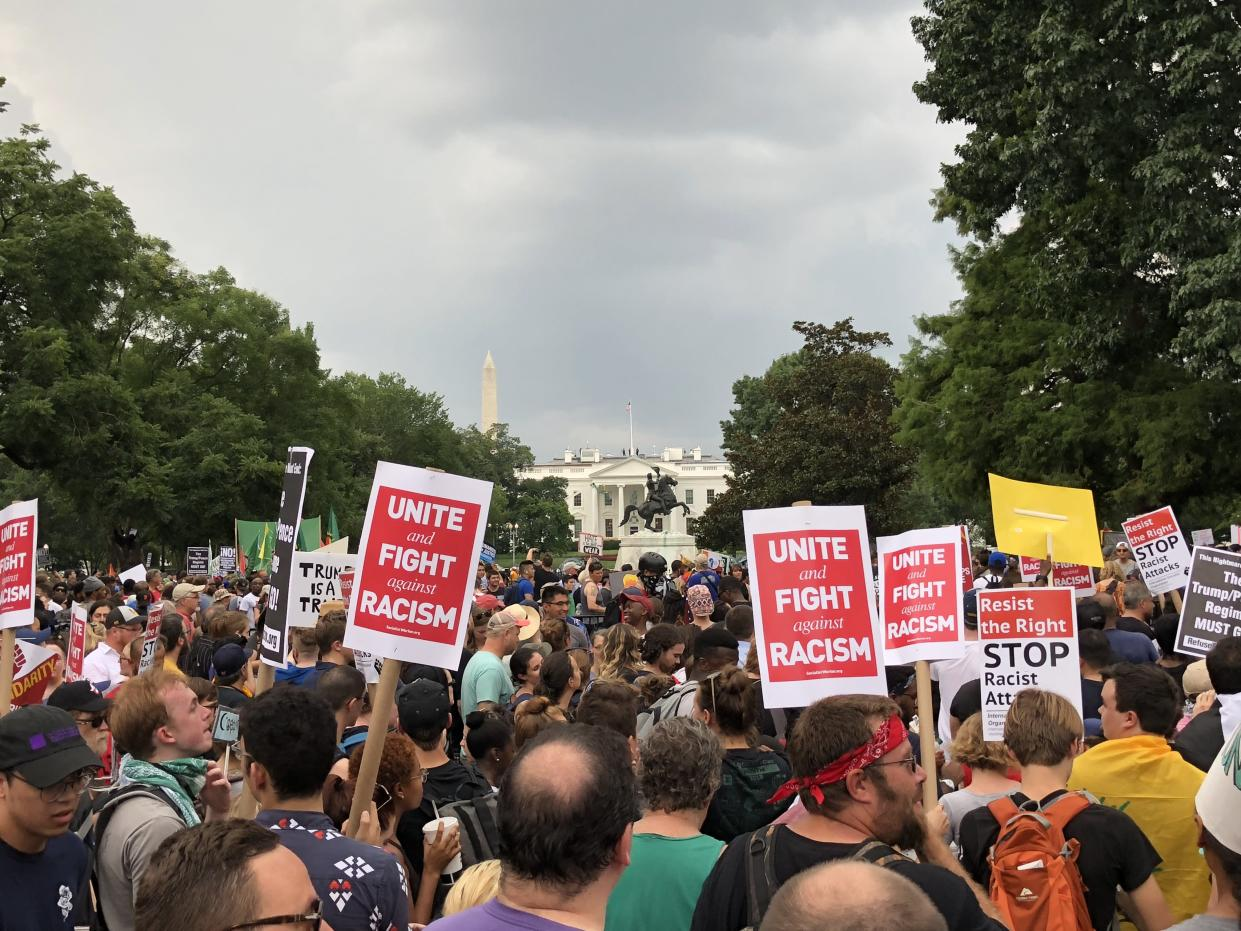 Protestors march against the far-right's rally in Washington on Aug. 12 — the one-year anniversary of a similar protest in Charlottesville, Va., that turned deadly. (Photo: Daniel Slim/AFP/Getty Images)