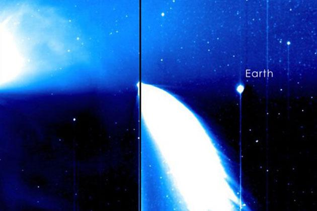 A still from STEREO spacecraft's Behind's HI1 instrument showing Comet Pan-STARRS and a coronal mass ejection (CME). Image taken on March 18, 2013. (Photo By NASA's Goddard Space Flight Center/STEREO)